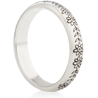 Floral Doodle Designed Decorative Laser Engraved Ring
