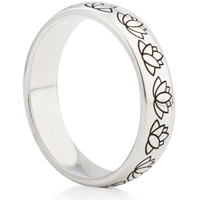 Lotus Flower Designed Laser Engraved Ring