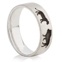 Lion and Lioness Laser Engraved Ring