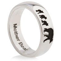 Mother Bear Laser Engraved Ring
