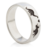 Dinosaur Designed Laser Engraved Ring