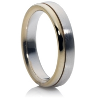 Split level two tone wedding ring.