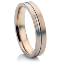 Rose and white gold two tone wedding ring