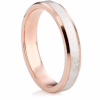 Rose and white gold matte finished two tone wedding ring