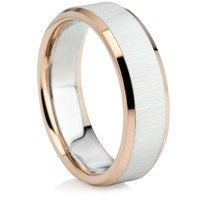Matt Finished Two Colour Wedding Ring
