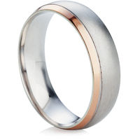 Two tone beveled edge wedding ring