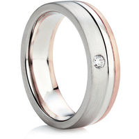 Diamond set heavy flat-comfort fit wedding ring