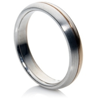 18k two tone comfort fit ring