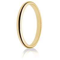 2mm Light Weight Gold D-Shape Wedding Ring