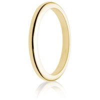 2mm Medium Weight Gold D-Shape Wedding Ring