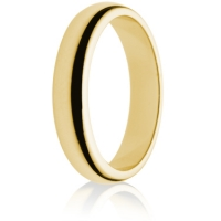 4mm Medium Weight Gold D-Shape Wedding Ring