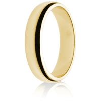 5mm Medium Weight Gold D-Shape Wedding Ring