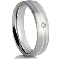 Cubic Zirconia Steel Wedding Ring