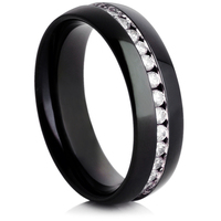 Steel Wedding Ring with IP Plating and Cubic Zirconia's