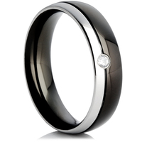 Steel Wedding Ring with IP Plating and a Cubic Zirconia