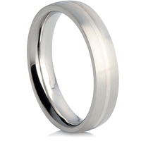 Steel Wedding Ring with a Silver Inlay