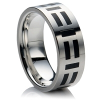 Steel wedding ring with black enamel design