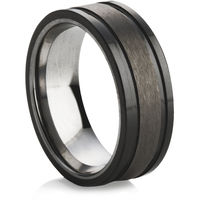 Flat Courted Tungsten Ring with Black Ceramic