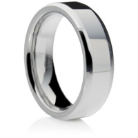 Flat comfort fit tungsten carbide ring