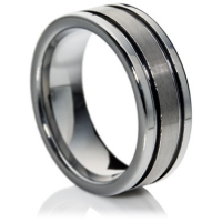 Flat comfort fit tungsten carbide ring with matte finish