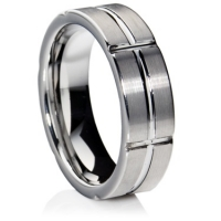 Flat profile tungsten carbide ring with matte finish