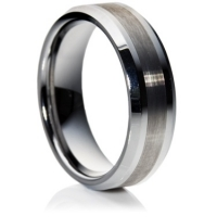 Flat comfort fit profile tungsten carbide ring with a beveled edge
