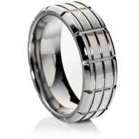 Tungsten carbide ring with square paneling