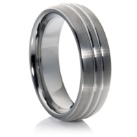 Court Profile Tungsten Carbide Ring with a Matt Finish