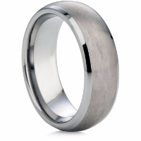 Court Shape Tungsten Carbide Ring with a Matt Finish