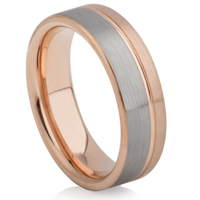 Tungsten Carbide Ring with Rose Gold IP Plating