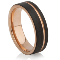 Black and Rose Gold IP Plated Tungsten Carbide Ring