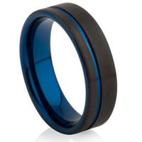 Black and Blue IP Plated Tungsten Carbide Ring