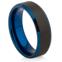 Tungsten Carbide Ring with Bevelled Edges and IP Plating