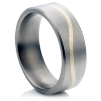 Titanium Ring with Gold Wave
