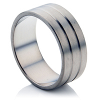 Wide Twin Groove Titanium Ring