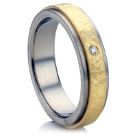 Decorative, Multi Metal, Diamond Set Wedding Ring.