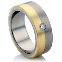 Diamond Set Multi Metal Wedding Ring.