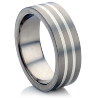 Titanium and Silver In-Lay Wedding Ring.