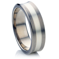 Concave Titanium Wedding Ring with Silver Inlay.