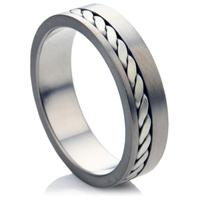 Bi Metal Wedding Ring with Silver In Lay.