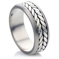 Bi Metal Wedding Ring with Silver In Lay.