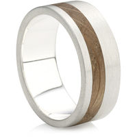 Flat Court profile Rustic Ring with Wooden In-Lay
