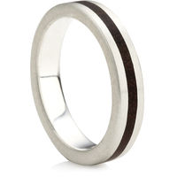 Flat profile Rustic Ring with Wooden In-Lay