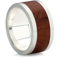 Flat Profile Rustic Ring with Single Wooden In-Lay