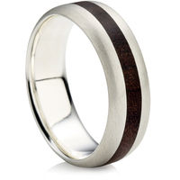 Double Comfort Ring with Matt Finish and Wood In-Lay.