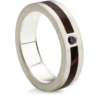 Wooden Inlay Ring with Sapphire