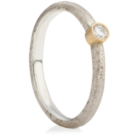 Silver and 18ct Yellow Gold Sandcast Engagement Ring