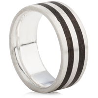 Silver Double Wooden Inlaid Ring