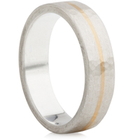 Hammered Silver Ring with Yellow Gold Inlaid Strip