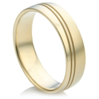 Gold Wedding Ring with a Wave Pattern Groove